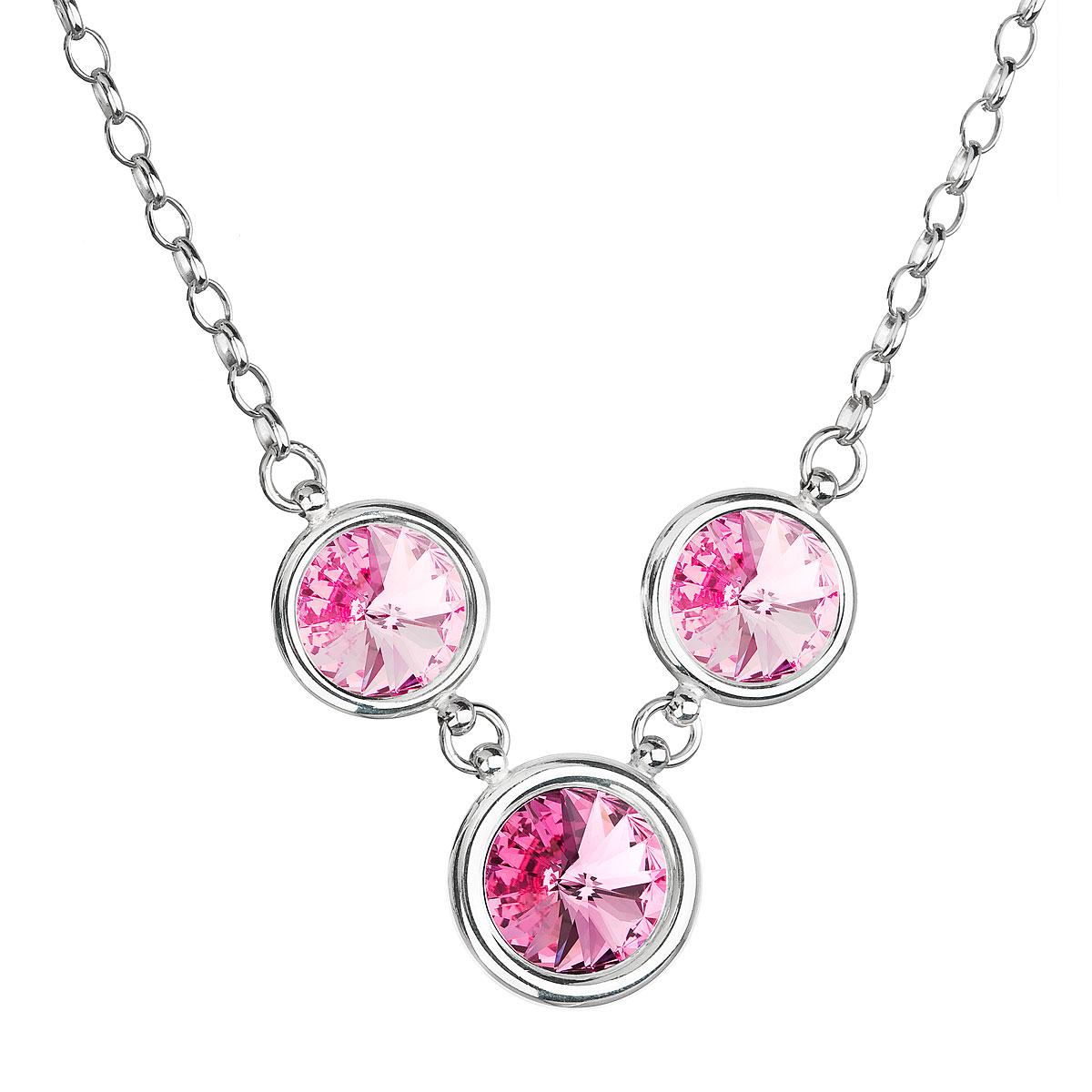 Evolution Group Stříbrný náhrdelník se Swarovski krystaly růžový kulatý 32033.3 rosa