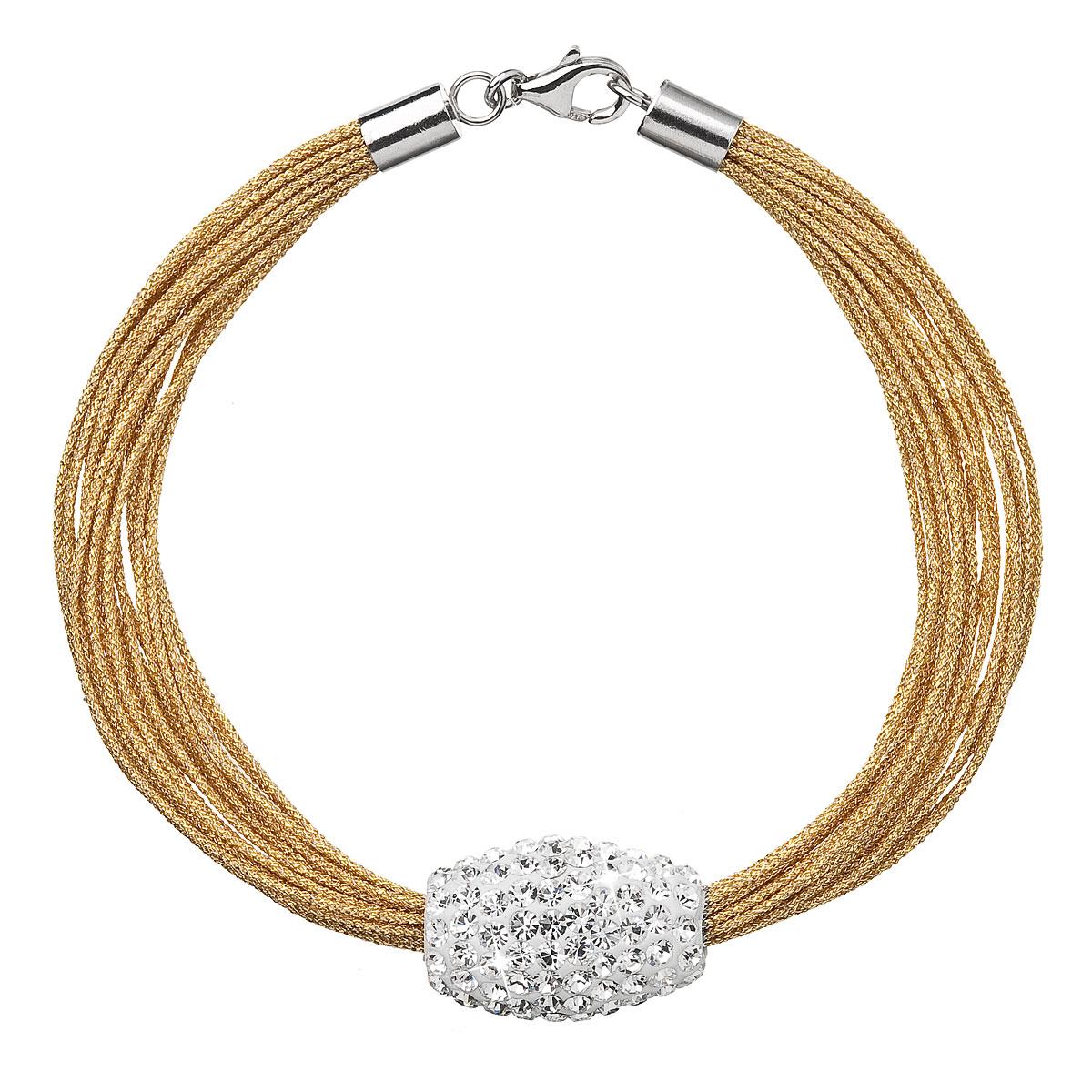 Stříbrný náramek s krystaly bílo zlatý 33072.3 gold