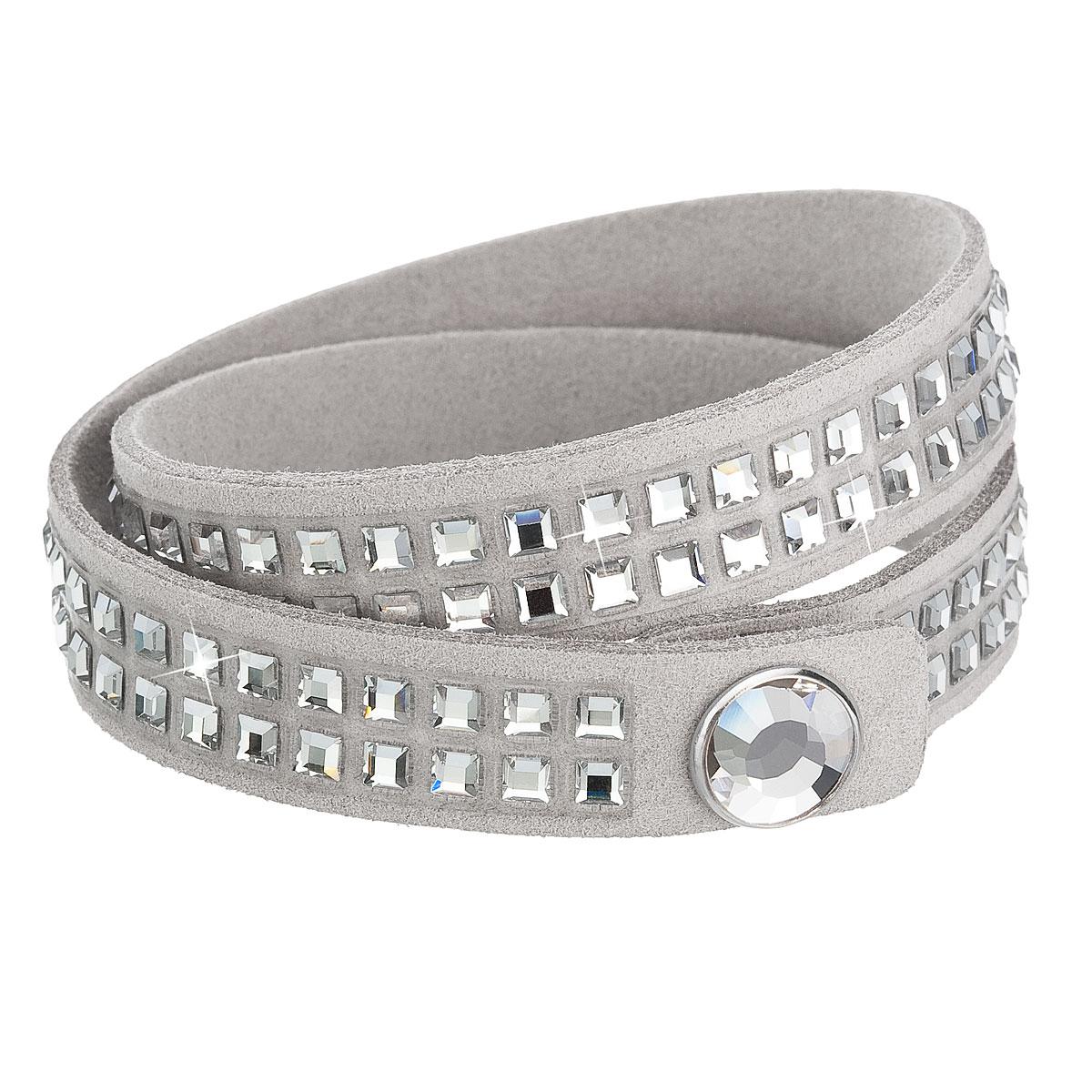 Náramek dvouřadý bižuterie s krystaly šedý 33083.1