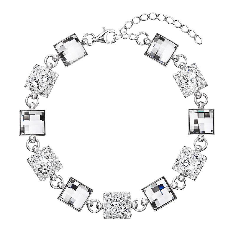 Evolution Group Stříbrný náramek se Swarovski krystaly bílý 33047.1