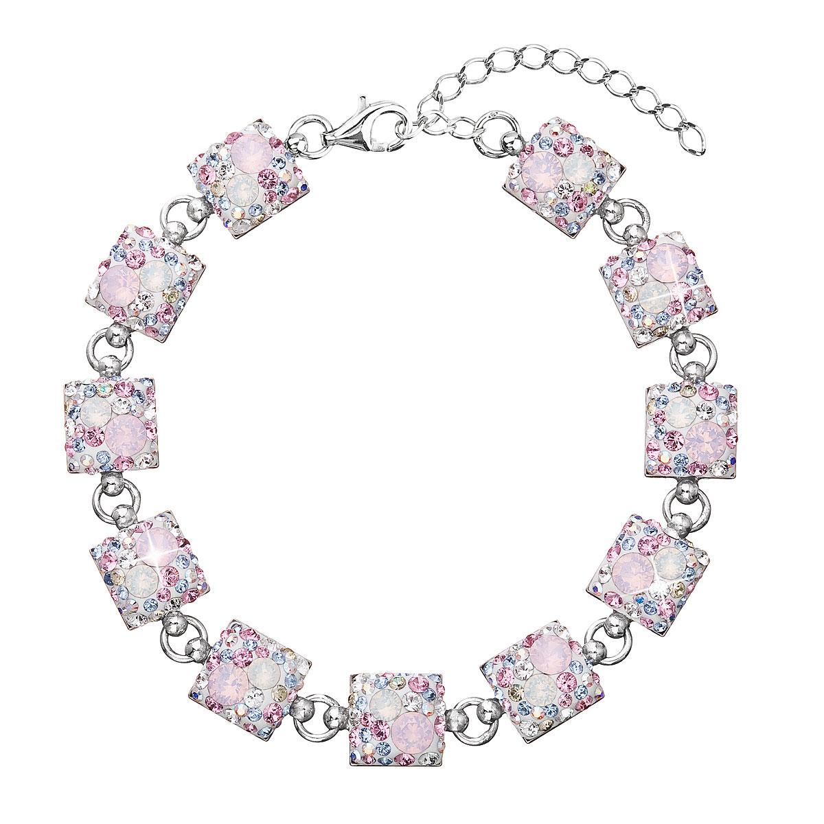 Evolution Group Stříbrný náramek se Swarovski krystaly růžový 33047.3
