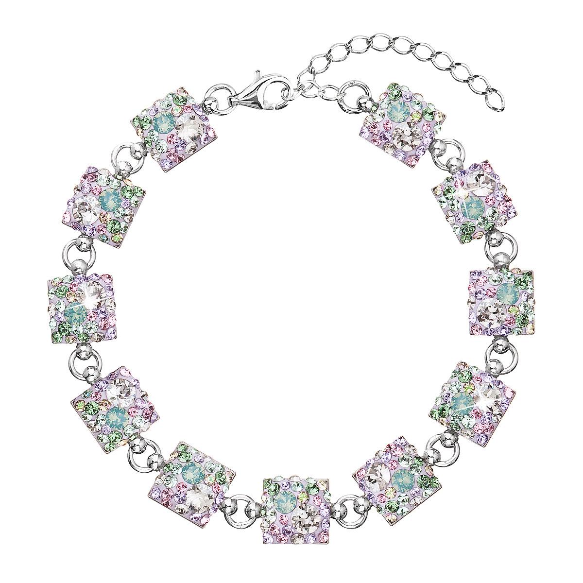 Stříbrný náramek se Swarovski krystaly mix barev 33047.3 sakura