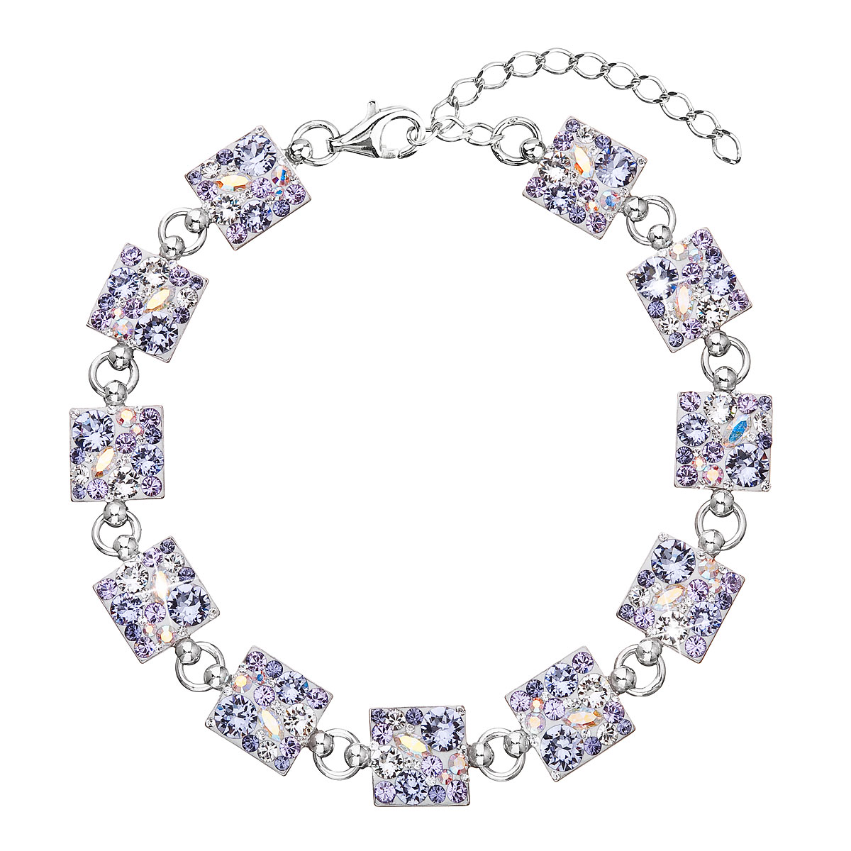 Evolution Group Stříbrný náramek se Swarovski krystaly fialový 33047.3 violet