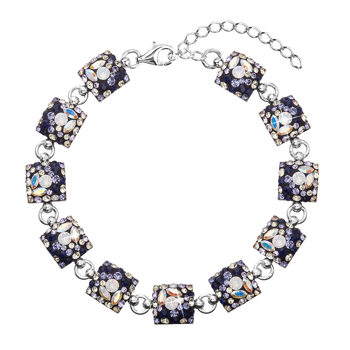 Stříbrný náramek se Swarovski krystaly mix barev 33047.3 indigo