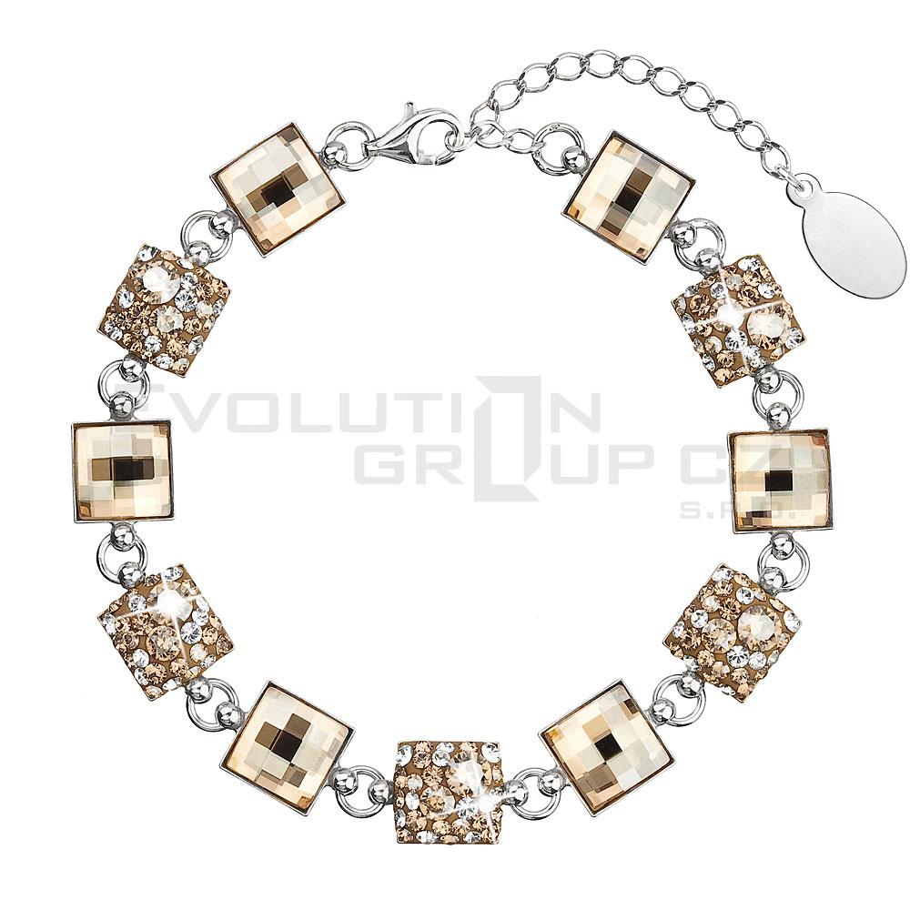 Stříbrný náramek se Swarovski krystaly zlatý 33047.5 gold mix