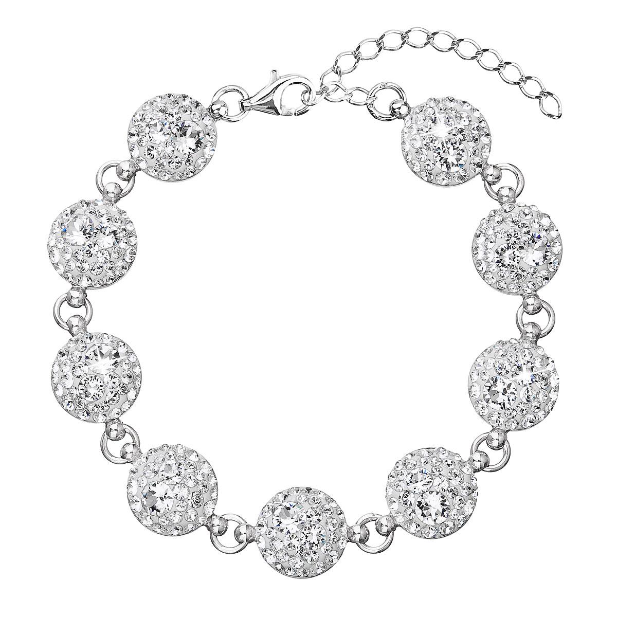 Evolution Group Stříbrný náramek se Swarovski krystaly bílý 33048.1