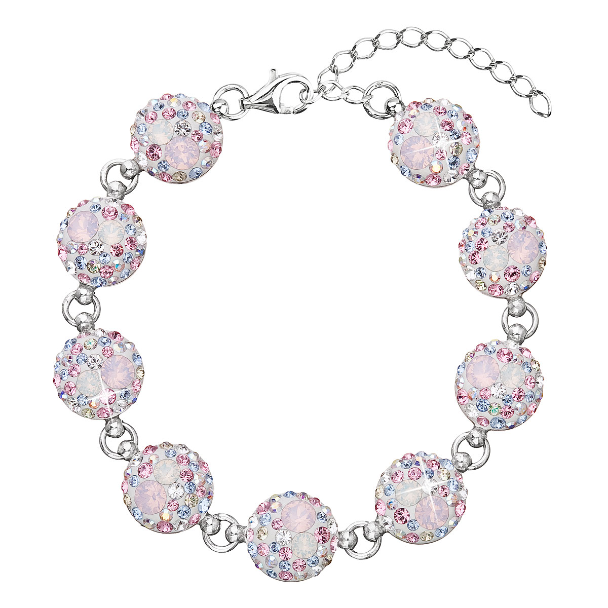 Evolution Group Stříbrný náramek se Swarovski krystaly růžový 33048.3 magic rose