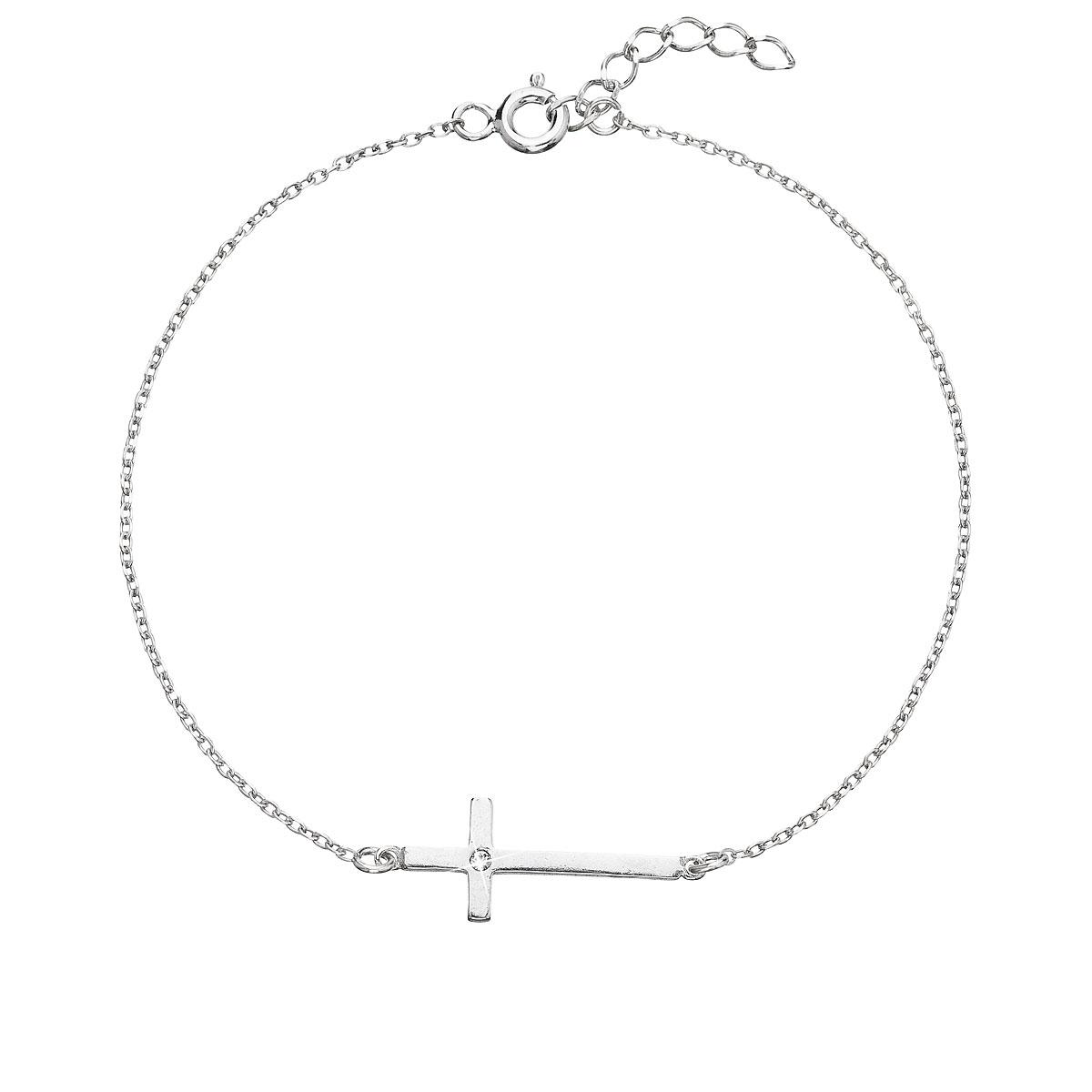 Stříbrný náramek s krystaly Swarovski bílý 33104.1