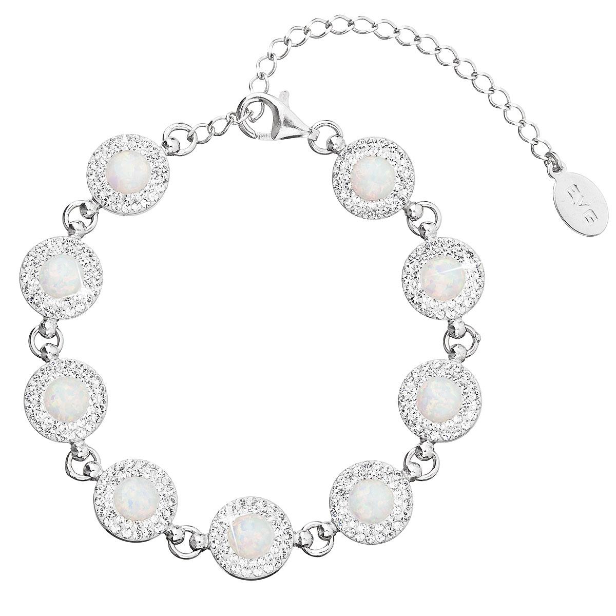 Stříbrný náramek se syntetickým opálem a krystaly Swarovski bílý 33105.1