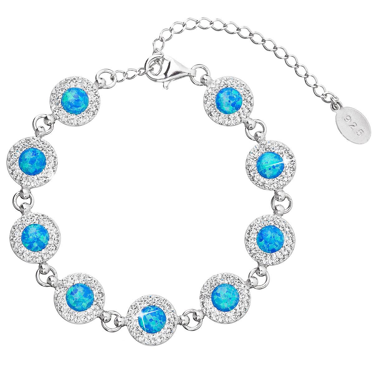 Evolution Group Stříbrný náramek se syntetickým opálem a krystaly Swarovski modrý 33105.1, dárkové balení