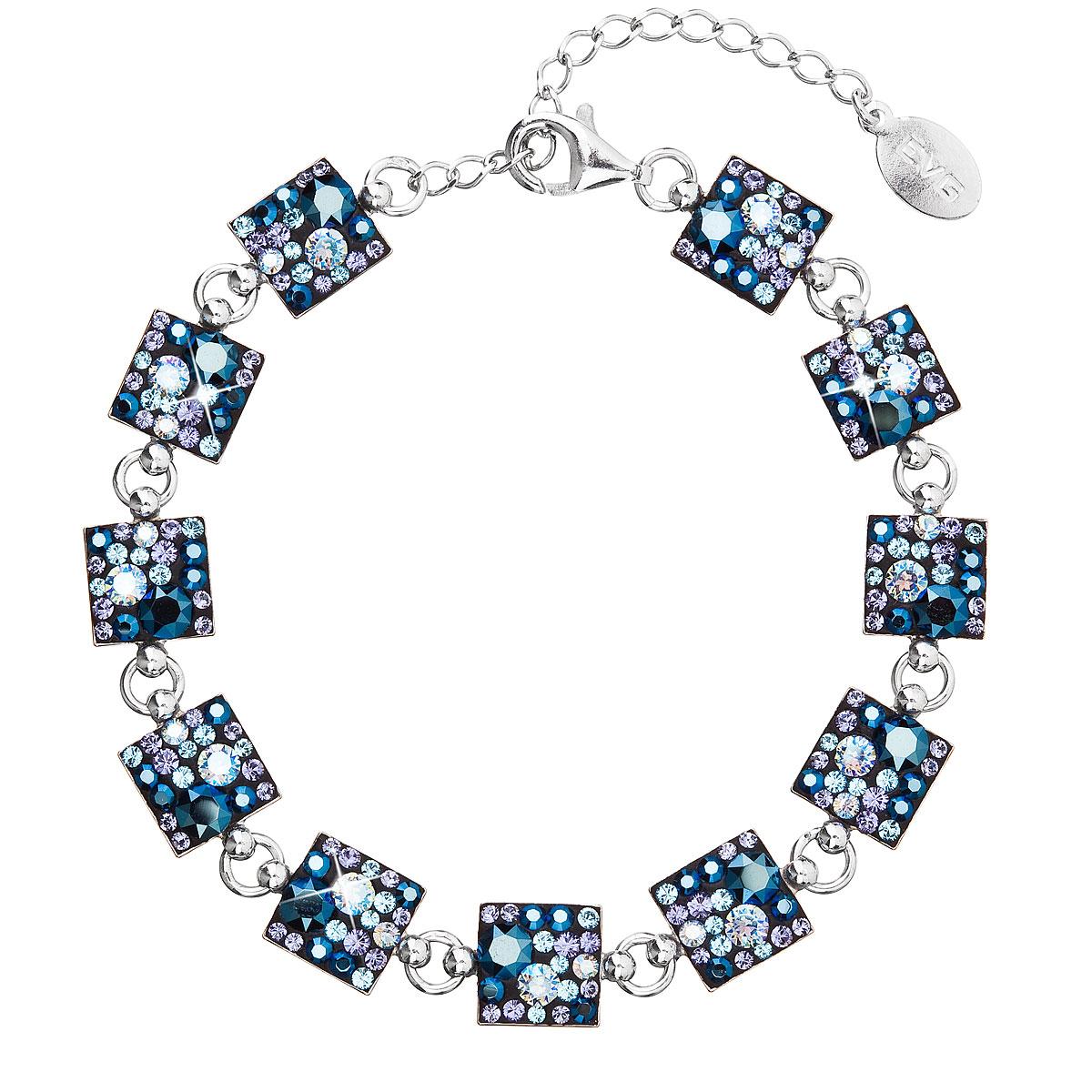 Evolution Group Stříbrný náramek se Swarovski krystaly modrý 33047.3 blue style