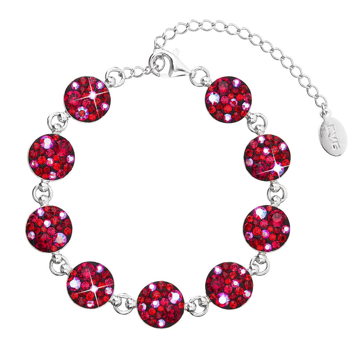 Stříbrný náramek se Swarovski krystaly červený 33048.3 cherry