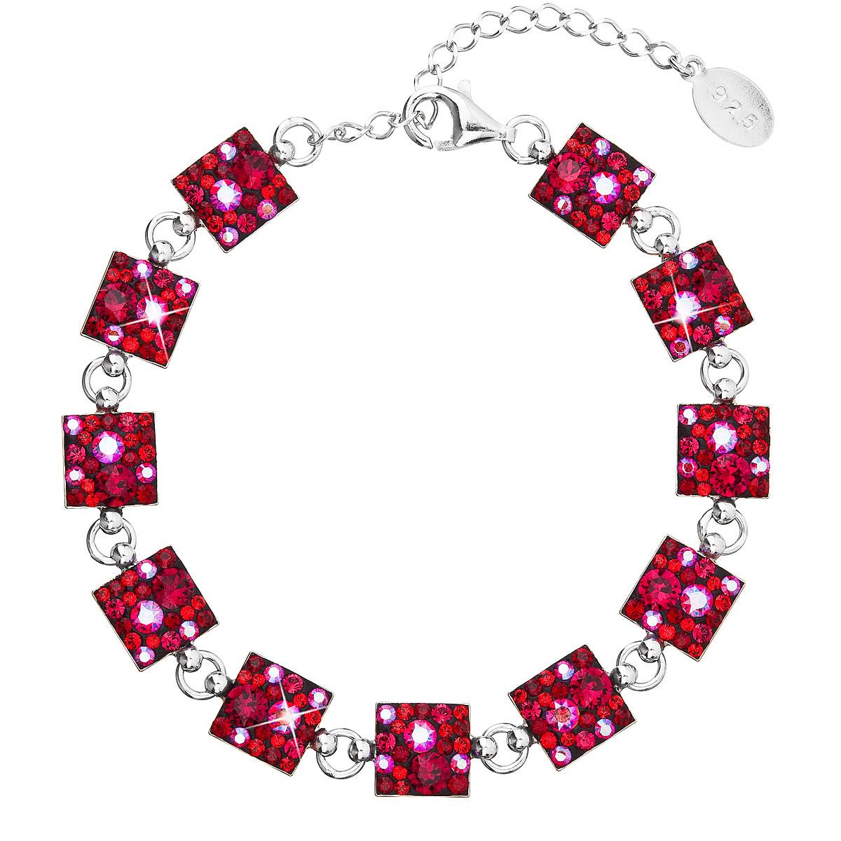Evolution Group Stříbrný náramek se Swarovski krystaly červený 33047.3 cherry