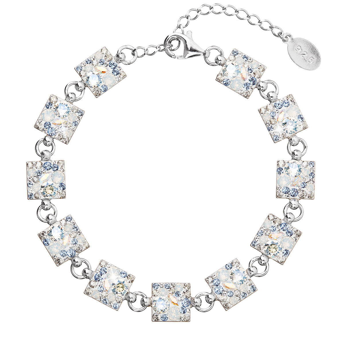 Evolution Group Stříbrný náramek se Swarovski krystaly modrý 33047.3 light sapphire