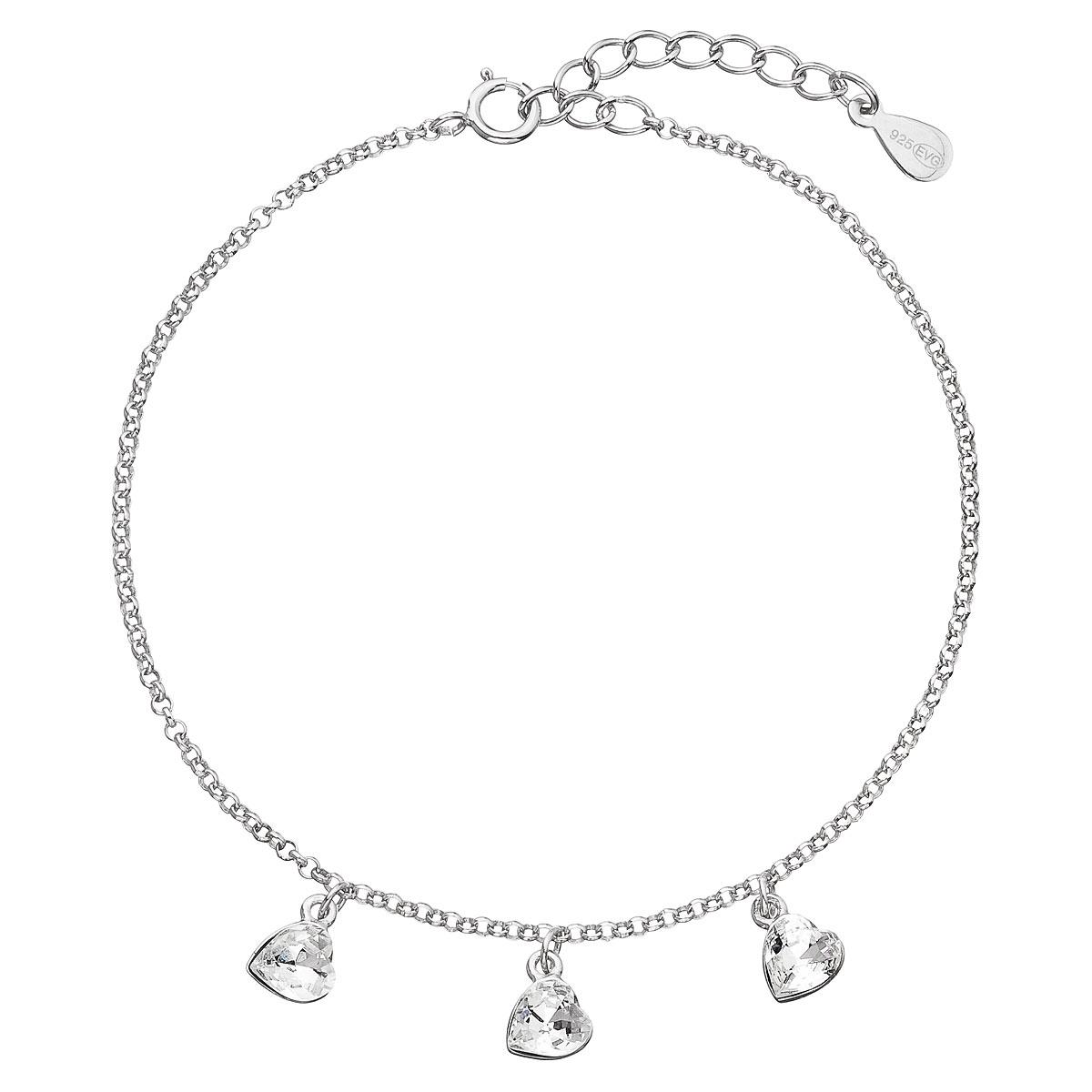 Evolution Group Stříbrný náramek se Swarovski krystaly bílé srdce 33108.1