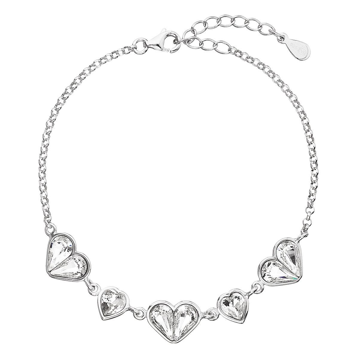 Evolution Group Stříbrný náramek se Swarovski krystaly bílé srdce 33109.1