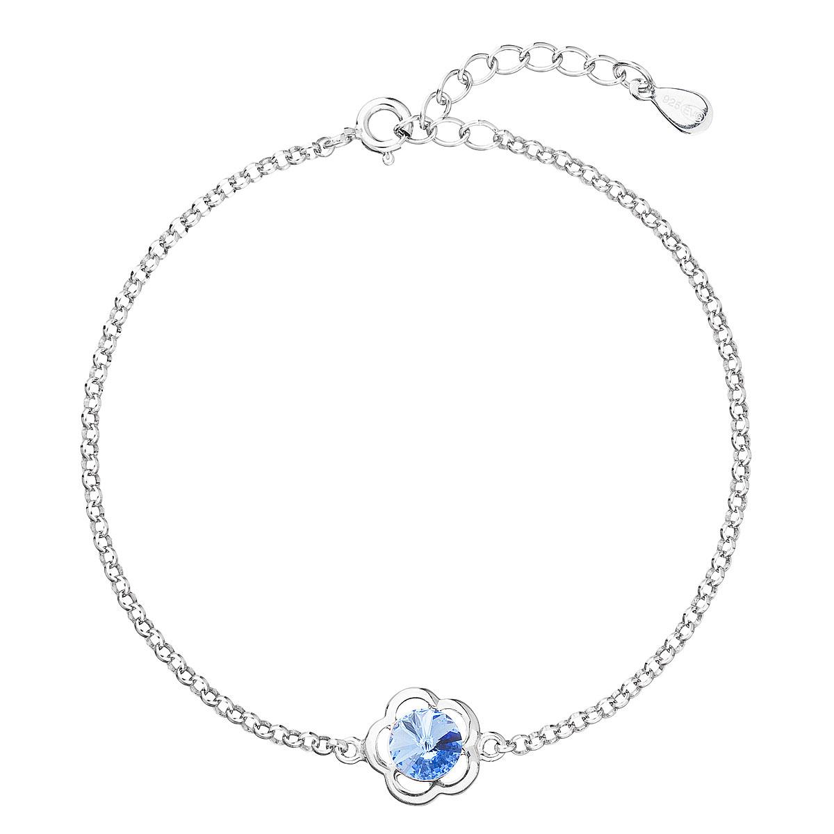 Evolution Group Stříbrný náramek se Swarovski krystaly modrá kytička 33117.3