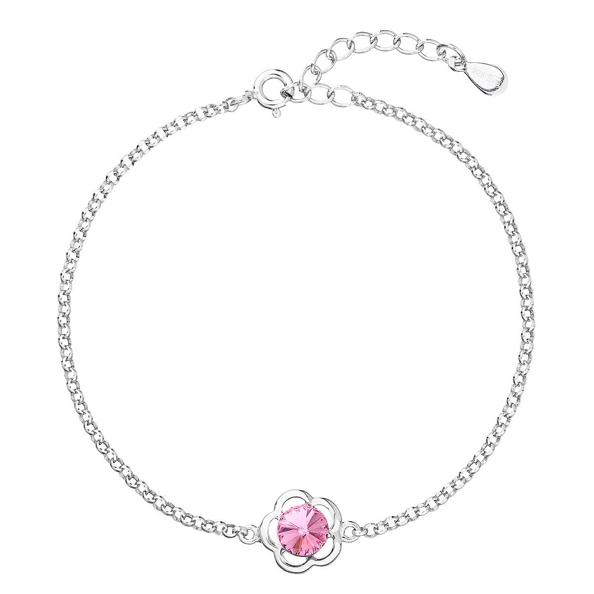 Evolution Group Stříbrný náramek se Swarovski krystaly růžová kytička 33117.3