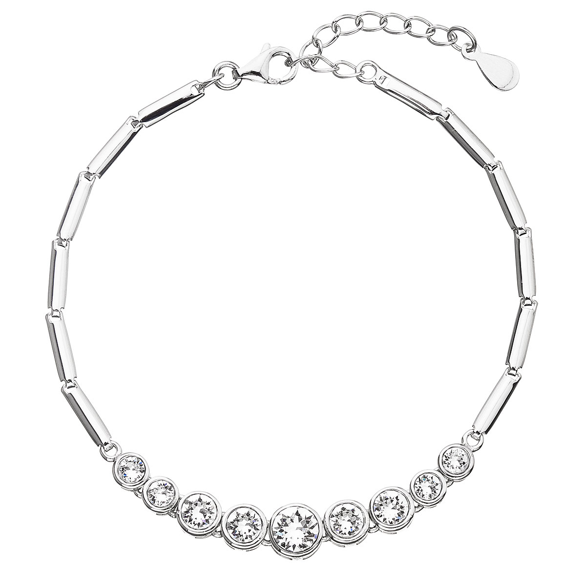 Evolution Group Stříbrný náramek se Swarovski krystaly bílý 33111.1