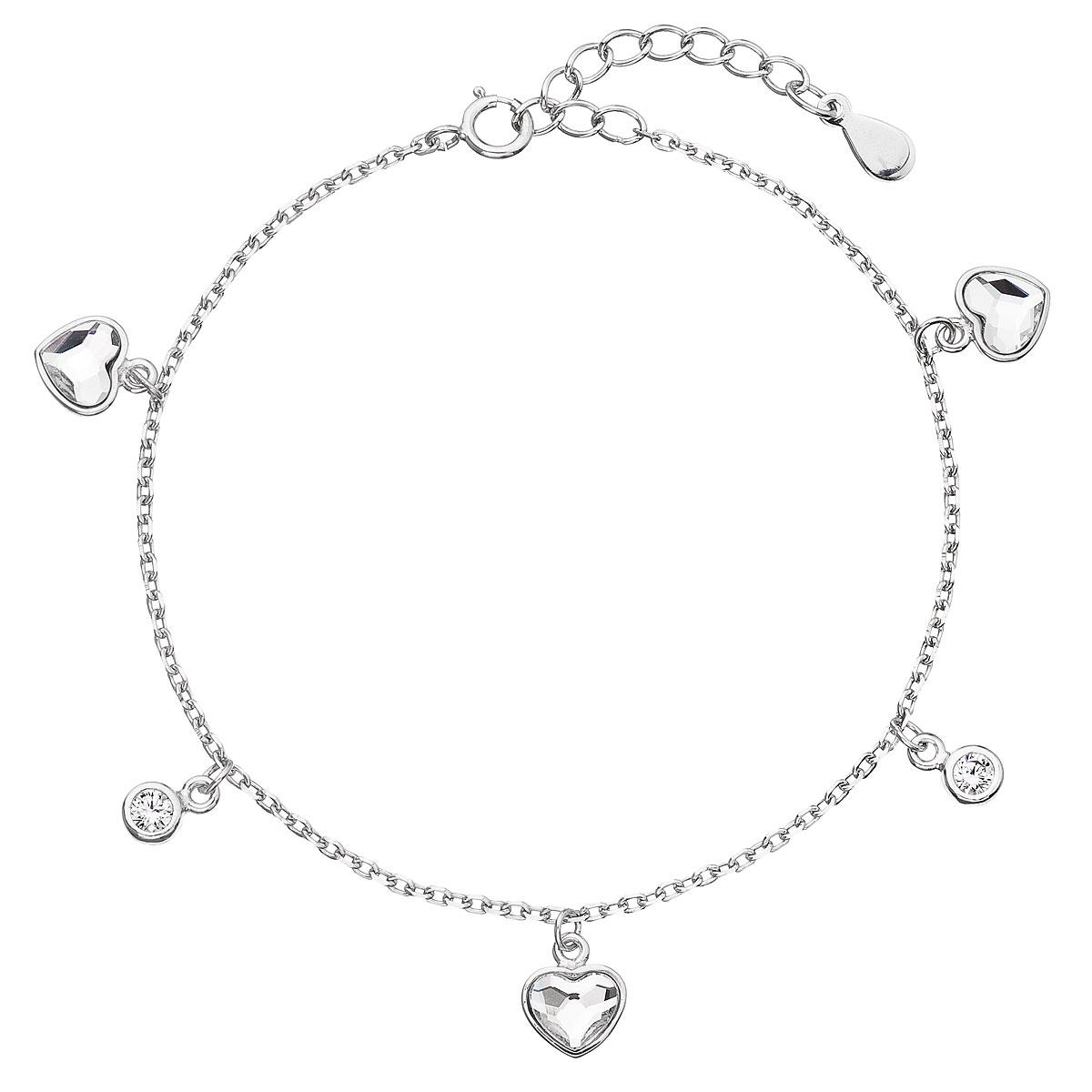 Evolution Group Stříbrný náramek se Swarovski krystaly bílé srdce 33114.1