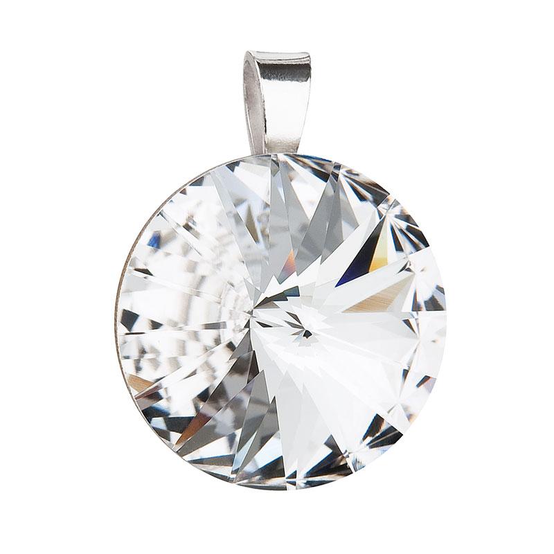 Evolution Group Stříbrný přívěsek s krystaly Swarovski bílý kulatý-rivoli 34071.1