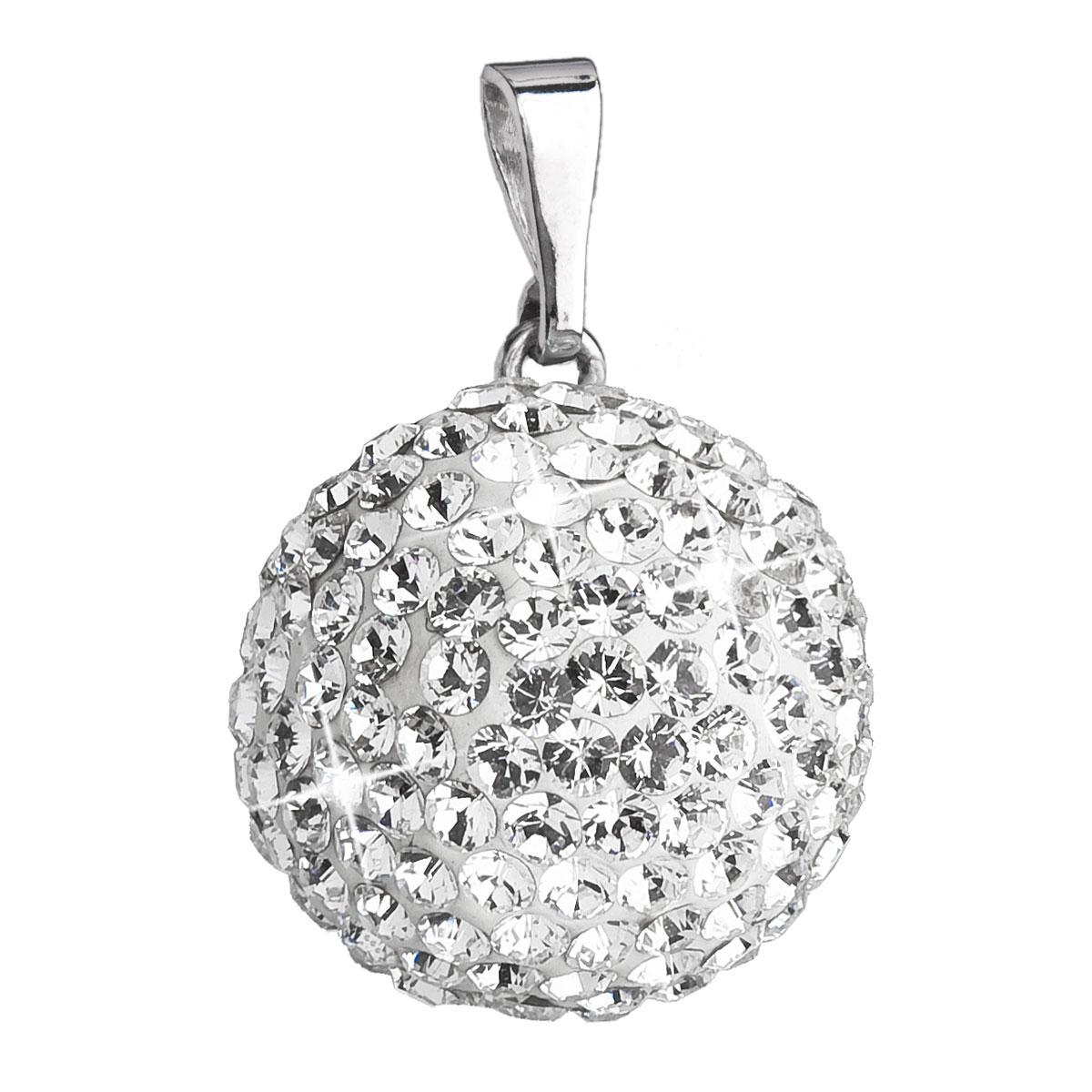 Evolution Group Stříbrný přívěsek s krystaly Swarovski bílý kulatý 34081.1