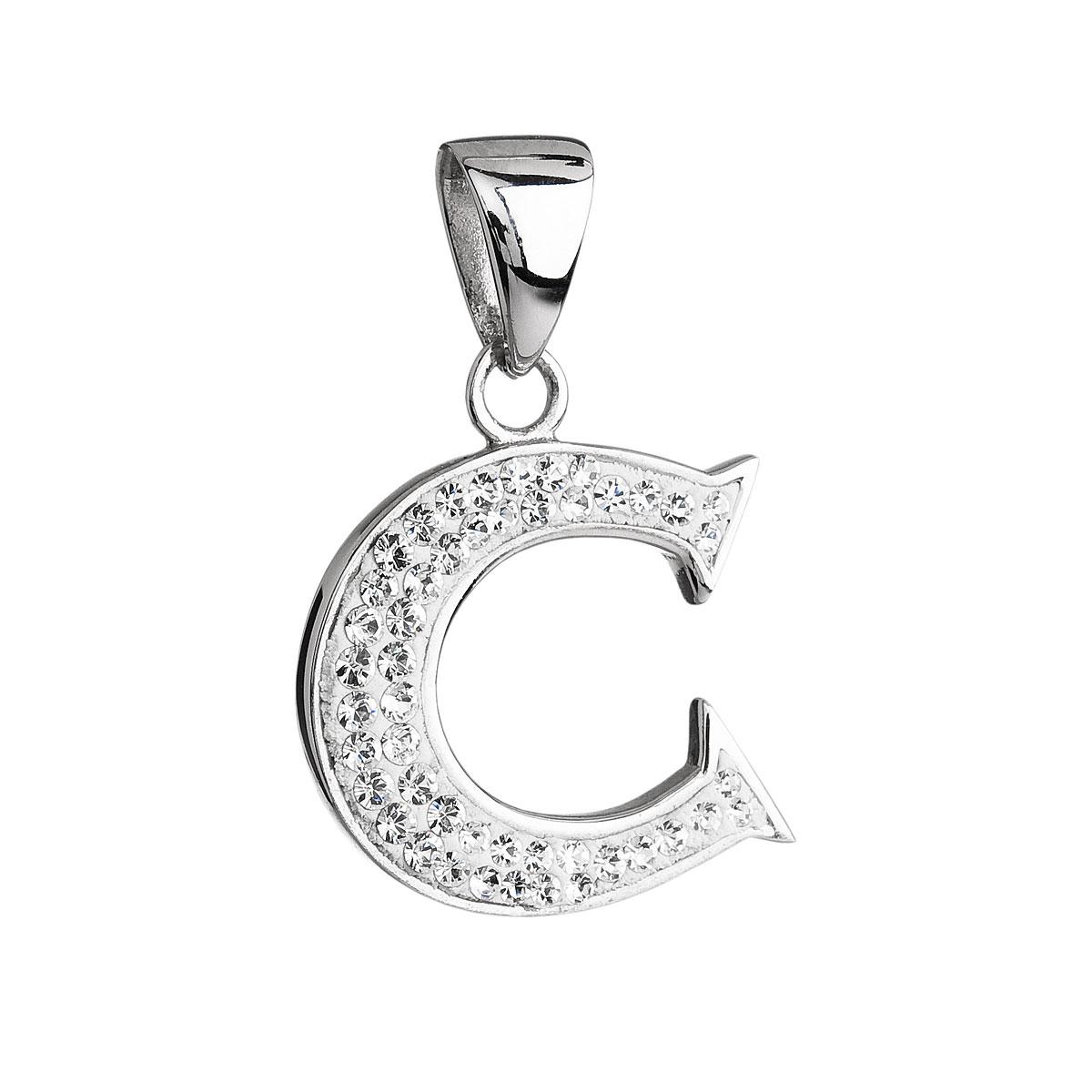 Stříbrný přívěsek s krystaly Swarovski bílé písmeno C 34102.1