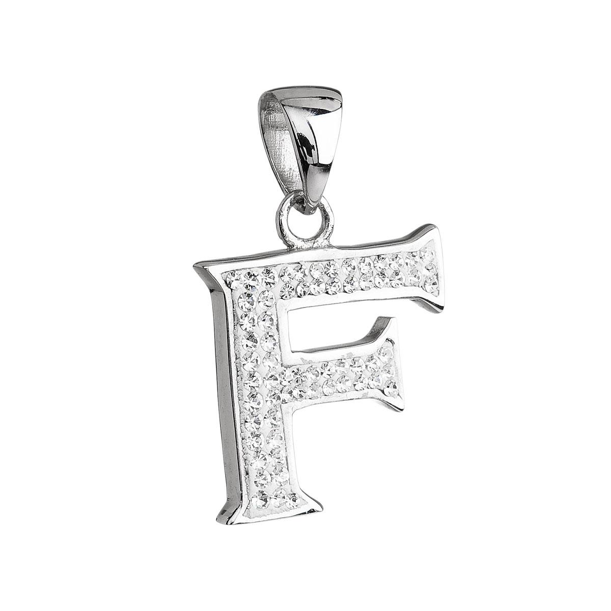 Stříbrný přívěsek s krystaly Swarovski bílé písmeno F 34102.1