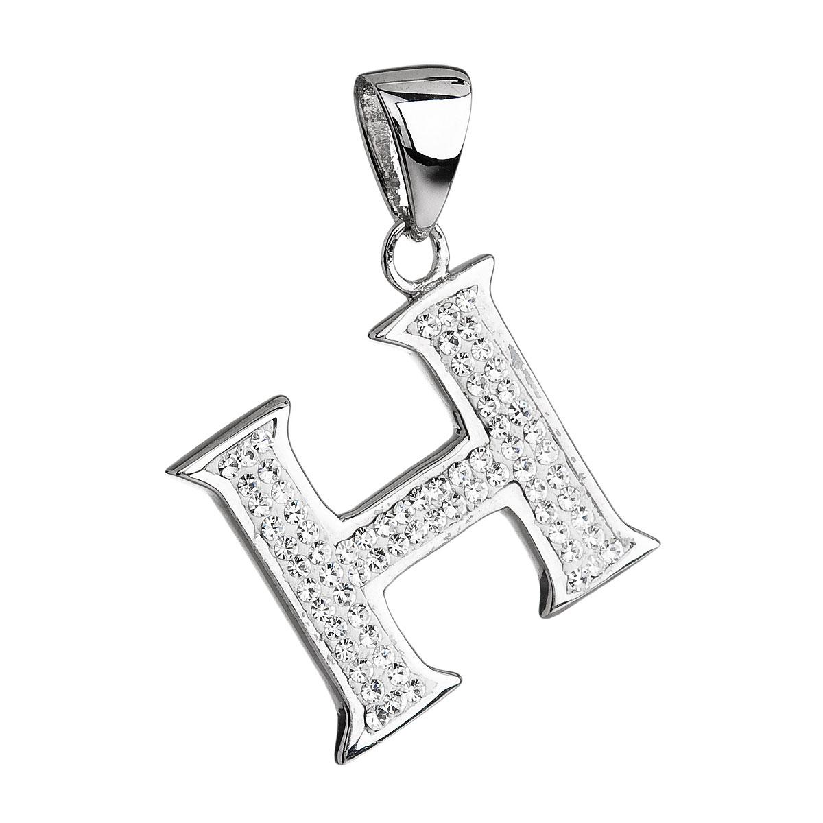 Stříbrný přívěsek s krystaly Swarovski bílé písmeno H 34102.1