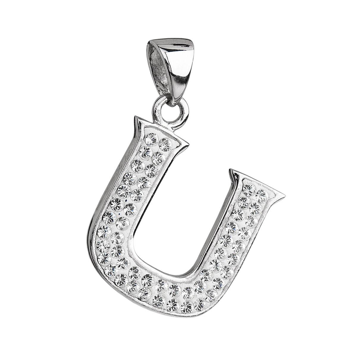 Stříbrný přívěsek s krystaly Swarovski bílé písmeno U 34102.1
