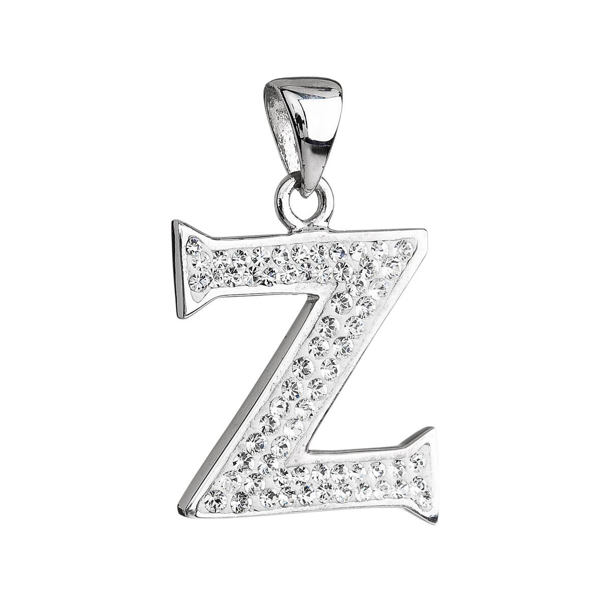 Stříbrný přívěsek s krystaly Swarovski bílé písmeno Z 34102.1