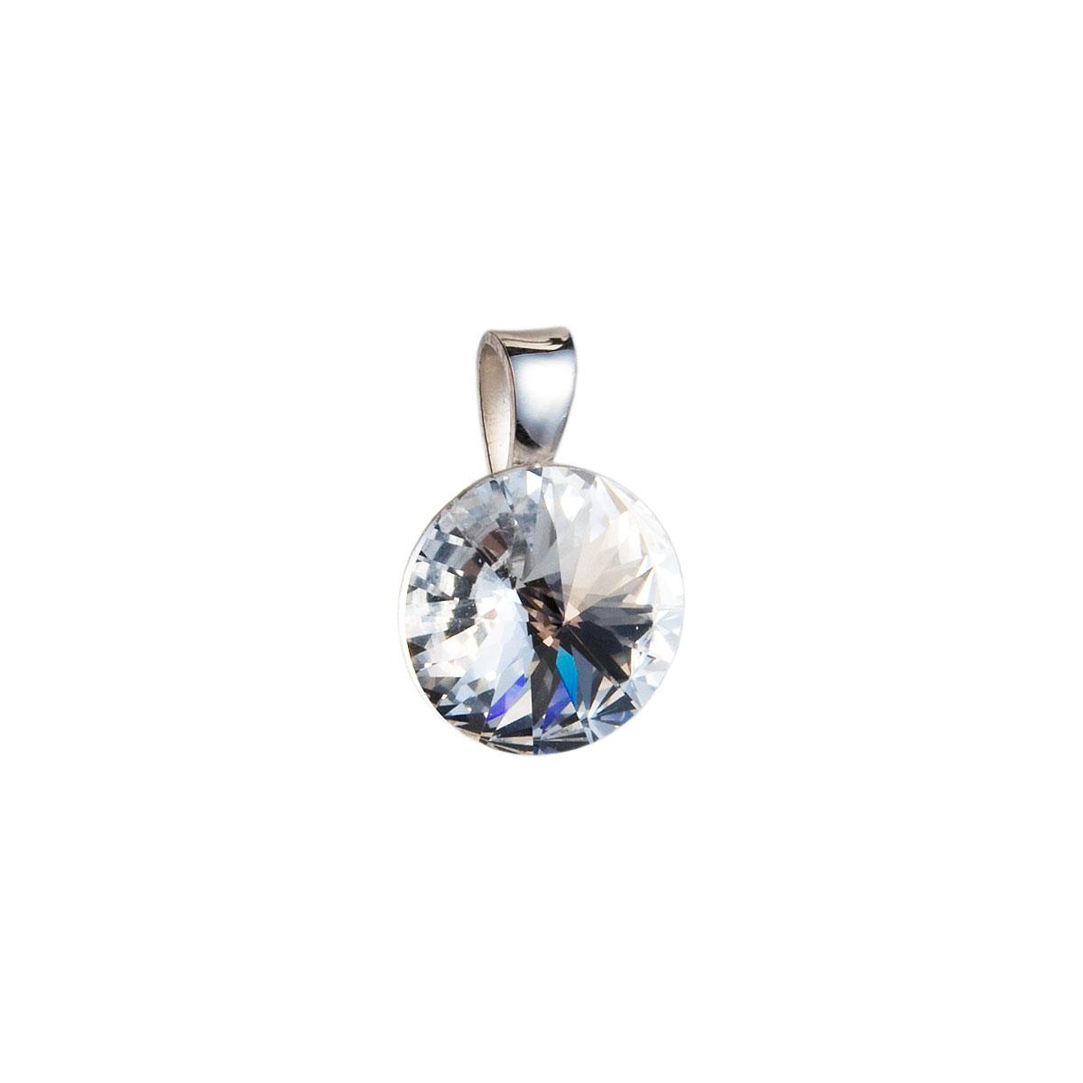 Evolution Group Stříbrný přívěsek s krystaly Swarovski bílý kulatý-rivoli 34112.1