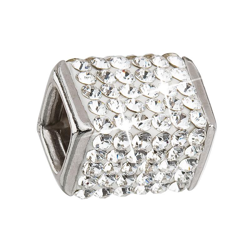Evolution Group Stříbrný přívěsek s krystaly bílá kostička 34134.1