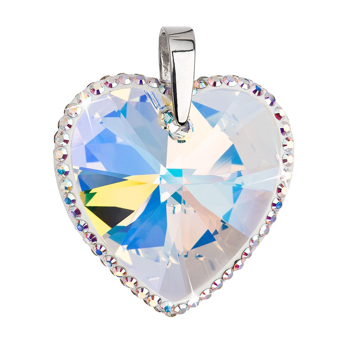 Evolution Group Stříbrný přívěsek s krystaly Swarovski AB efekt srdce 34138.2