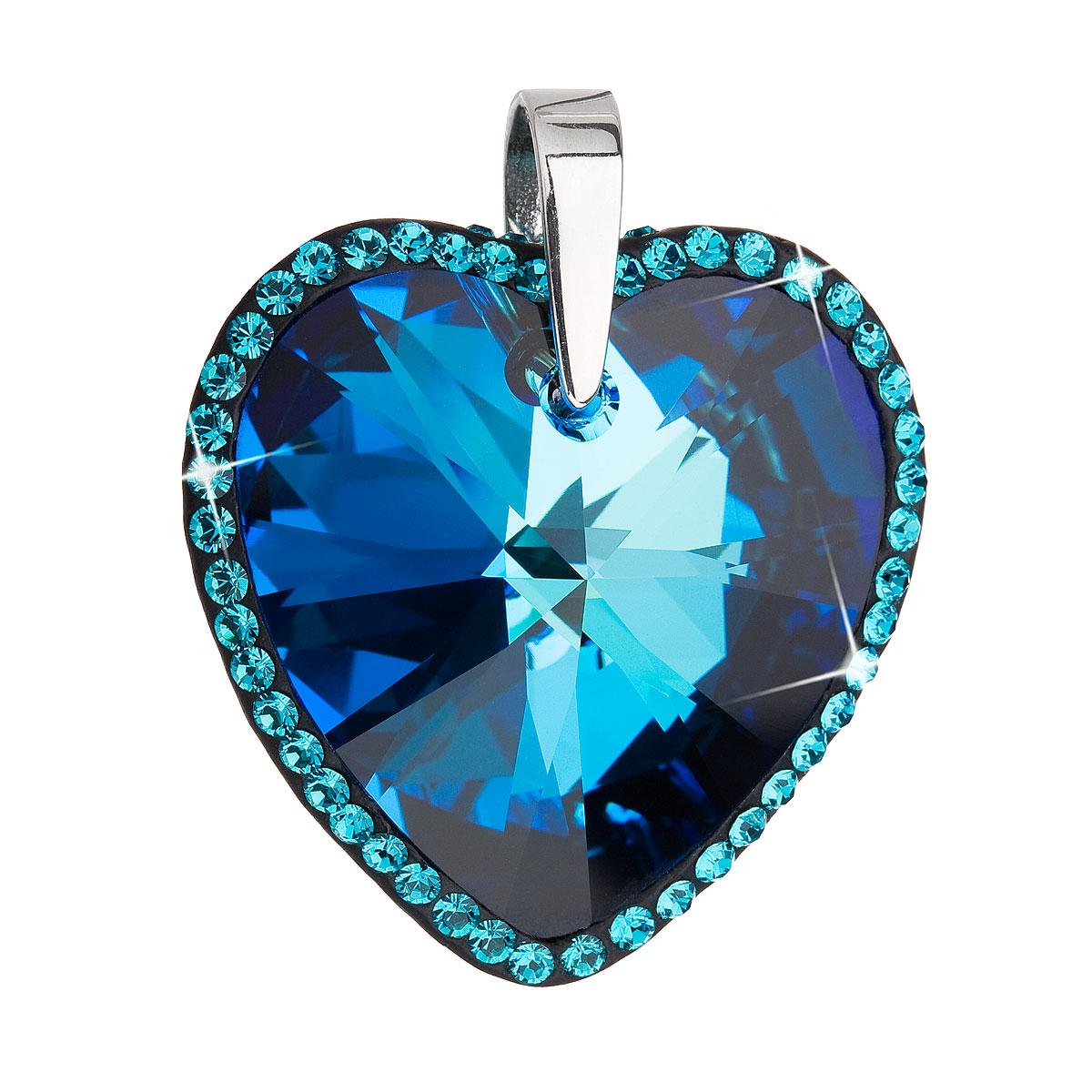 Evolution Group Stříbrný přívěsek s krystaly Swarovski modré srdce 34138.5