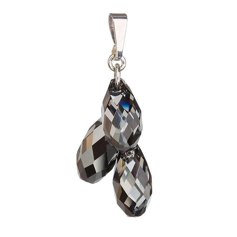 Stříbrný přívěsek s krystaly Swarovski šedá slza 34146.5