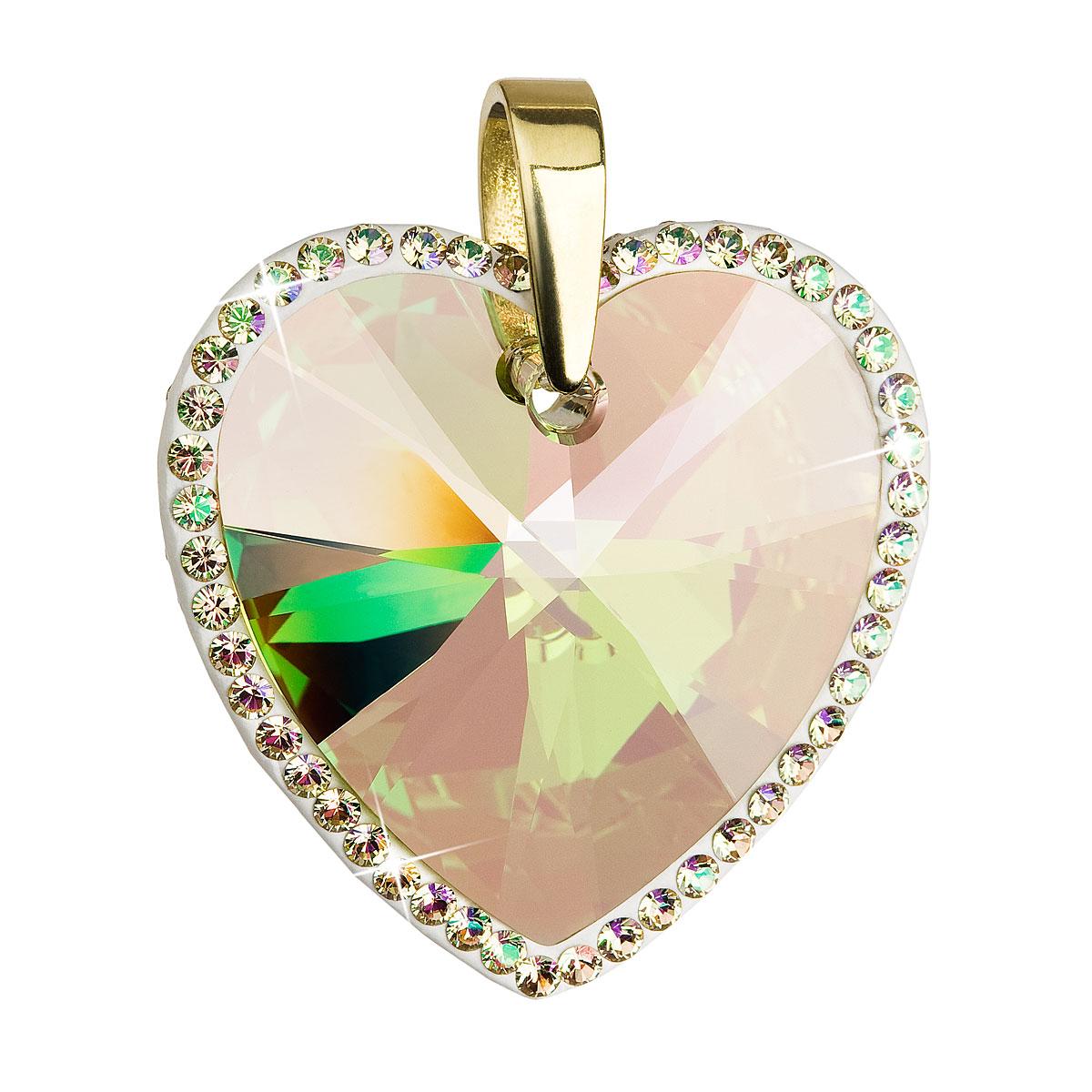 Evolution Group Stříbrný přívěsek s krystaly Swarovski žluté srdce 34138.6