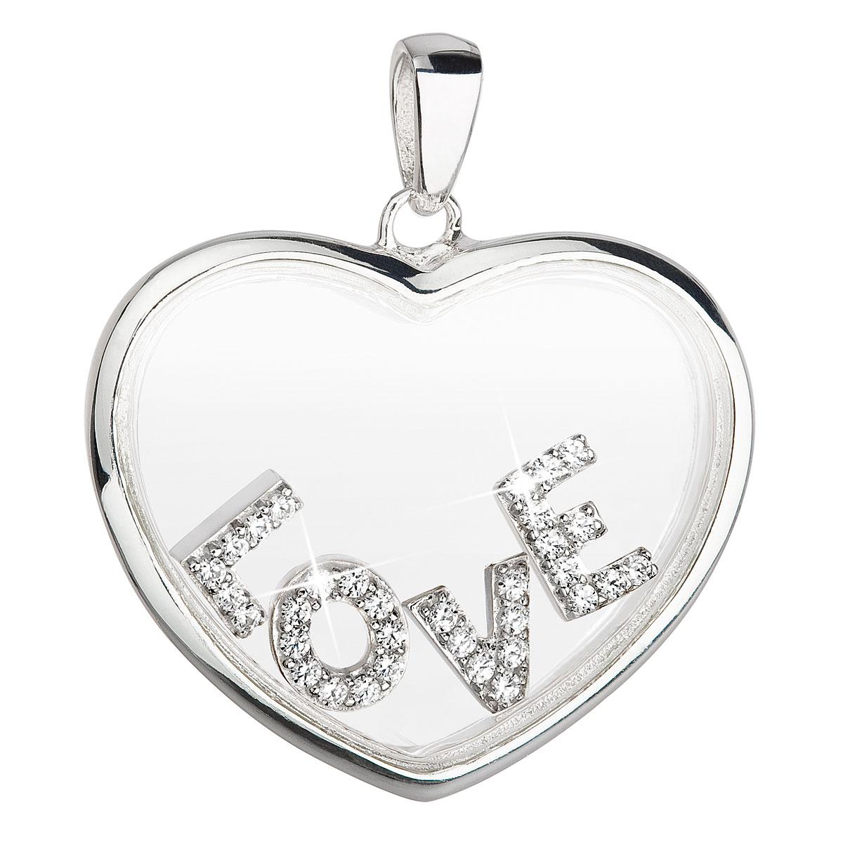 Evolution Group Stříbrný přívěsek s krystaly Swarovski bílé srdce 34168.1