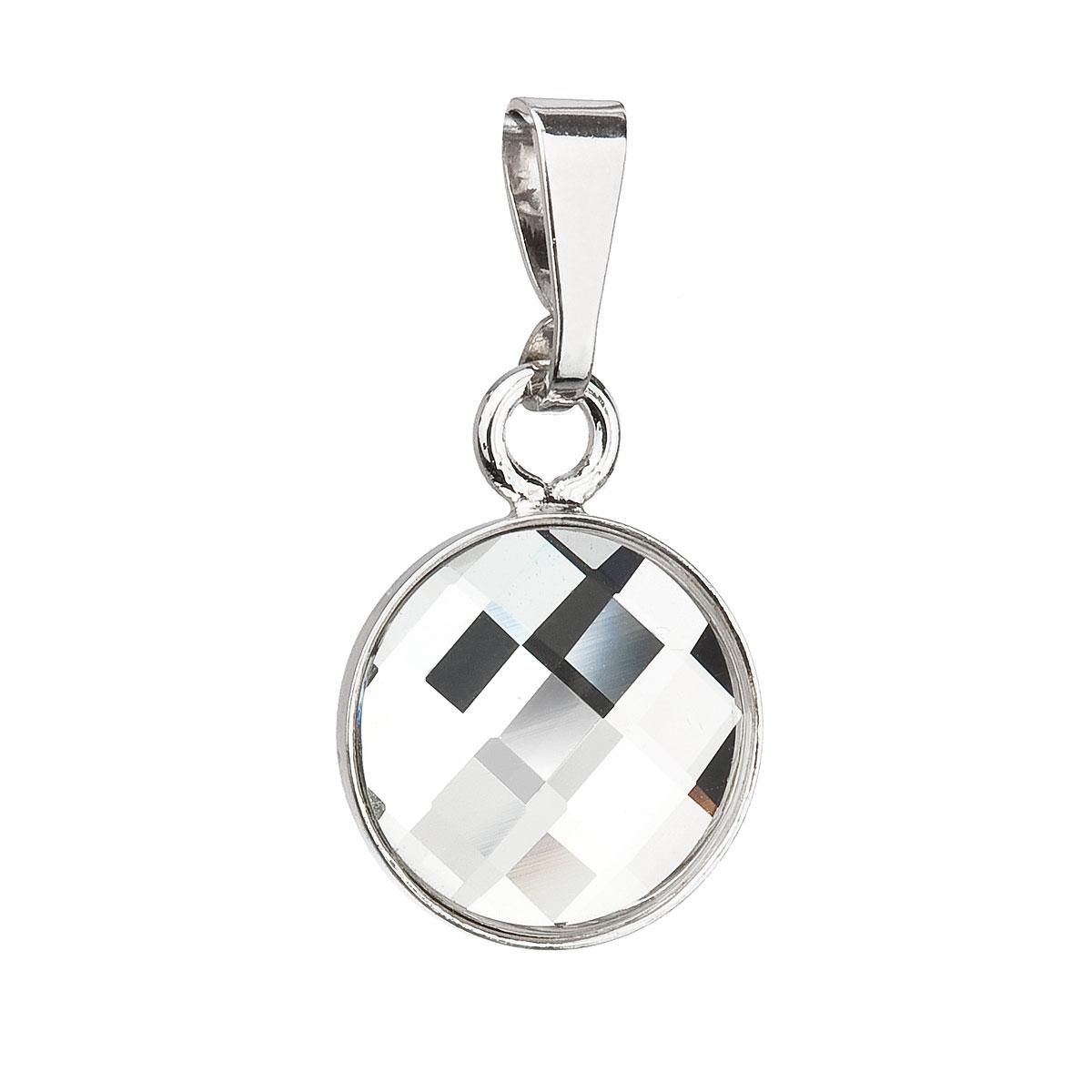 Stříbrný přívěsek s krystaly Swarovski bílý kulatý 34172.1