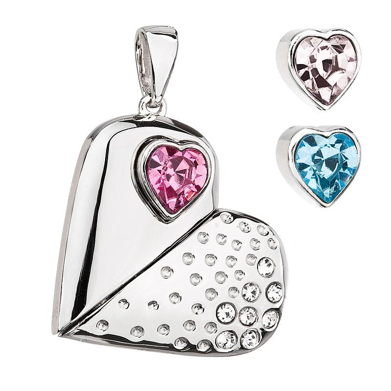 Evolution Group Stříbrný přívěsek s krystaly Swarovski mix barev srdce 34174.3