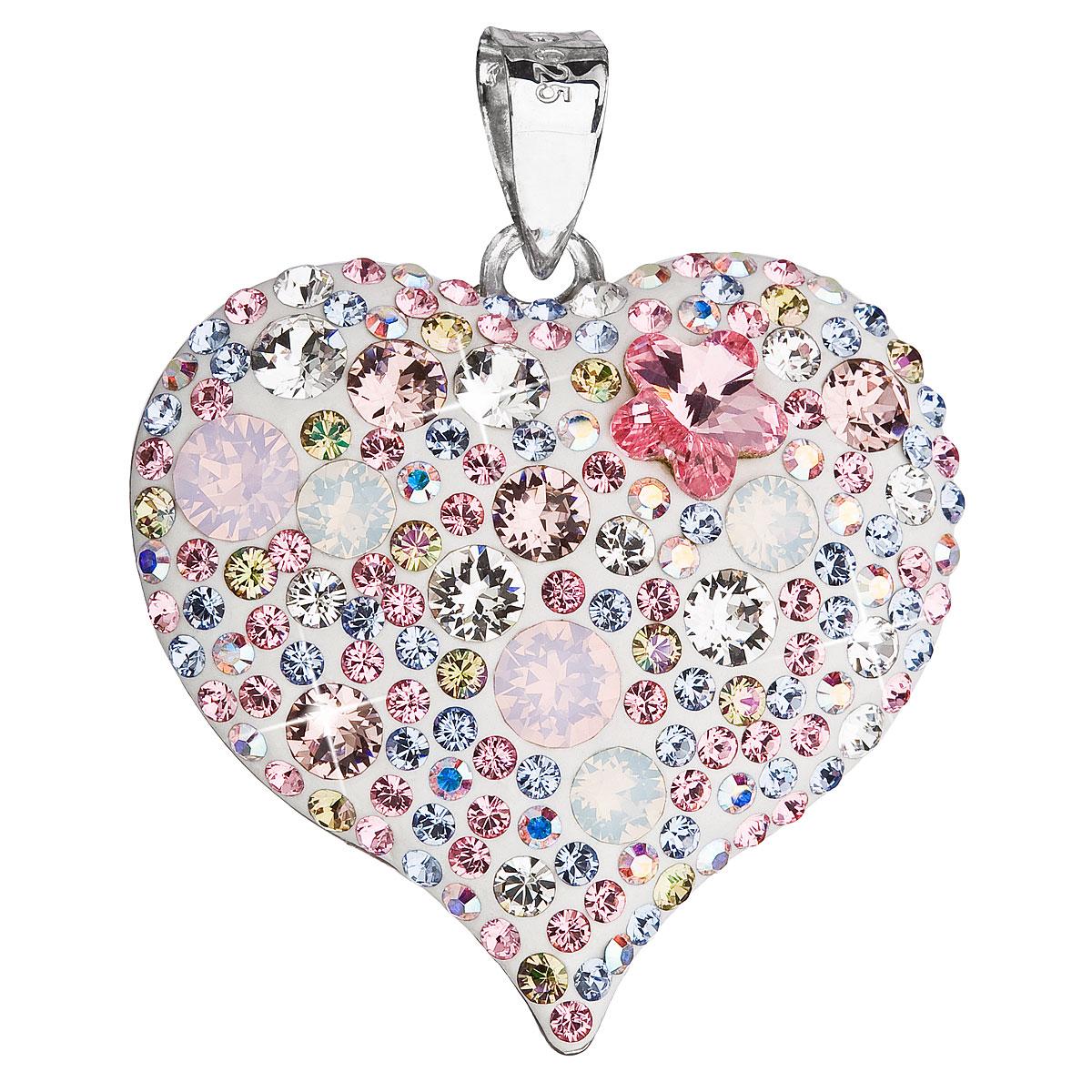 Evolution Group Stříbrný přívěsek s krystaly Swarovski růžové srdce 34181.3