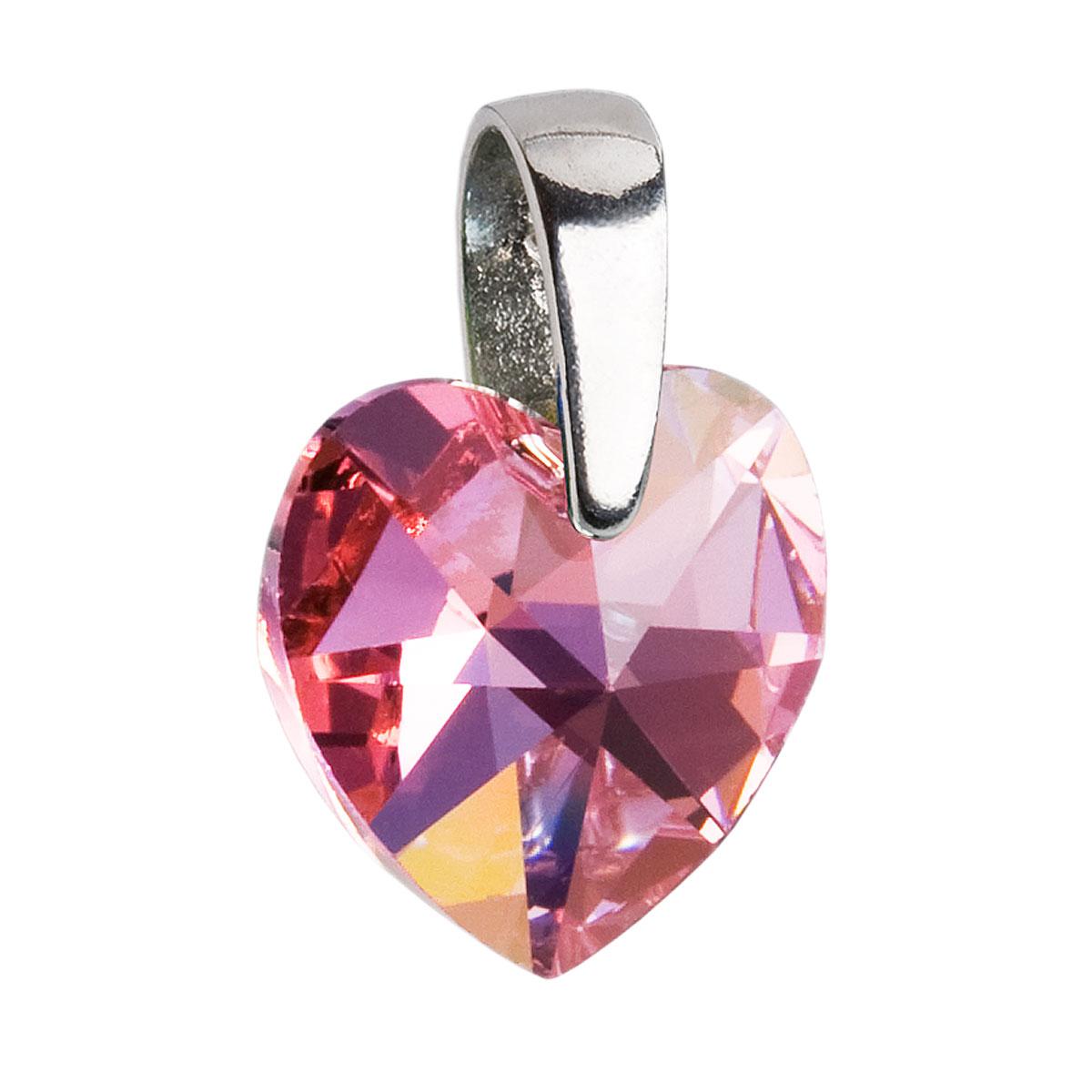 Evolution Group Stříbrný přívěsek s krystaly Swarovski AB efekt růžové srdce 34003.4