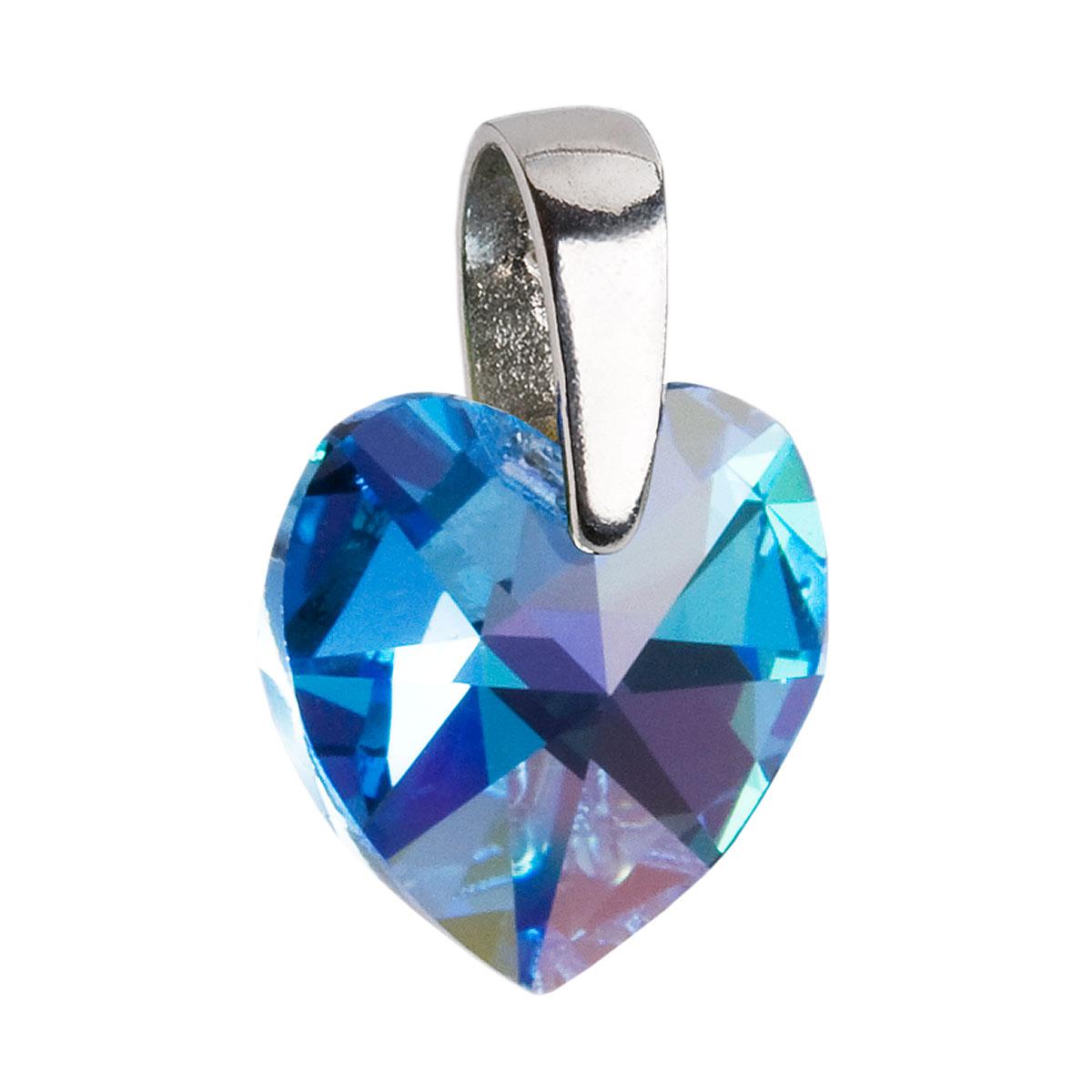 Evolution Group Stříbrný přívěsek s krystaly Swarovski AB efekt modré srdce 34003.4