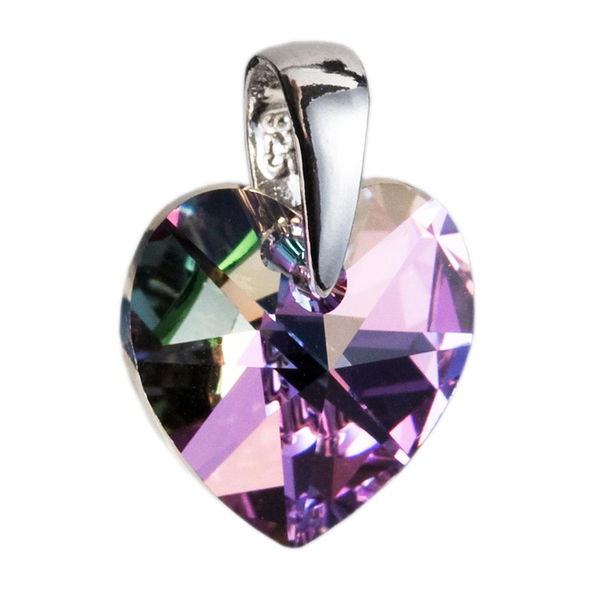 Evolution Group Stříbrný přívěsek s krystaly Swarovski fialové srdce 34003.5
