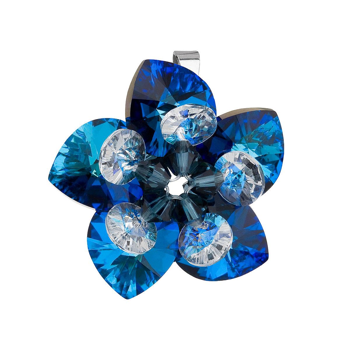 Evolution Group Stříbrný přívěsek s krystalem Swarovski modrá květina 34072.5