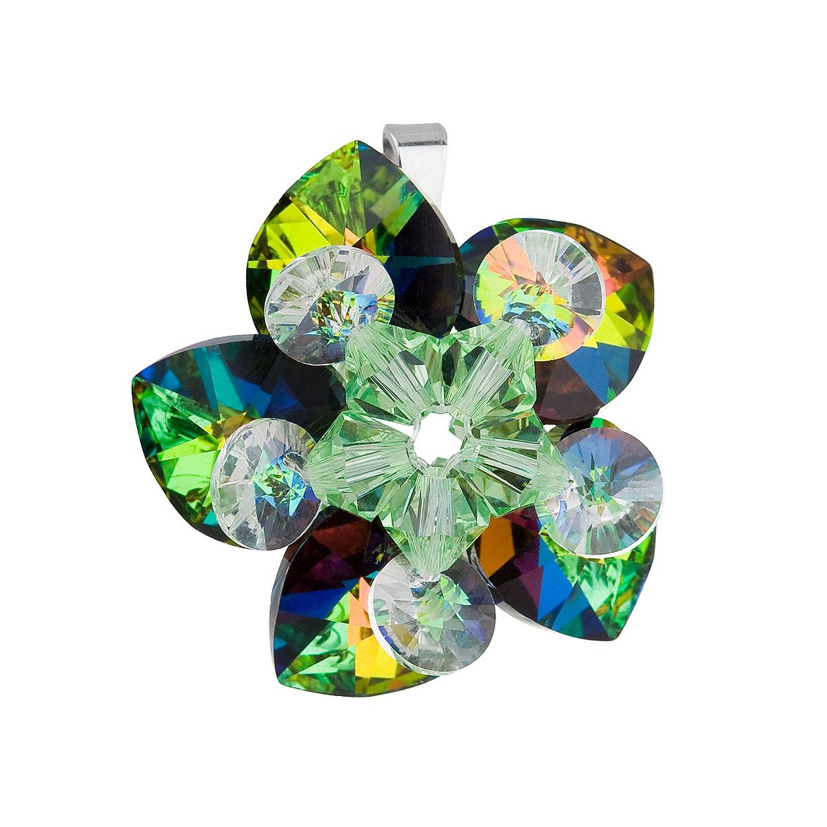 Evolution Group Stříbrný přívěsek s krystalem Swarovski zelená květina 34072.5