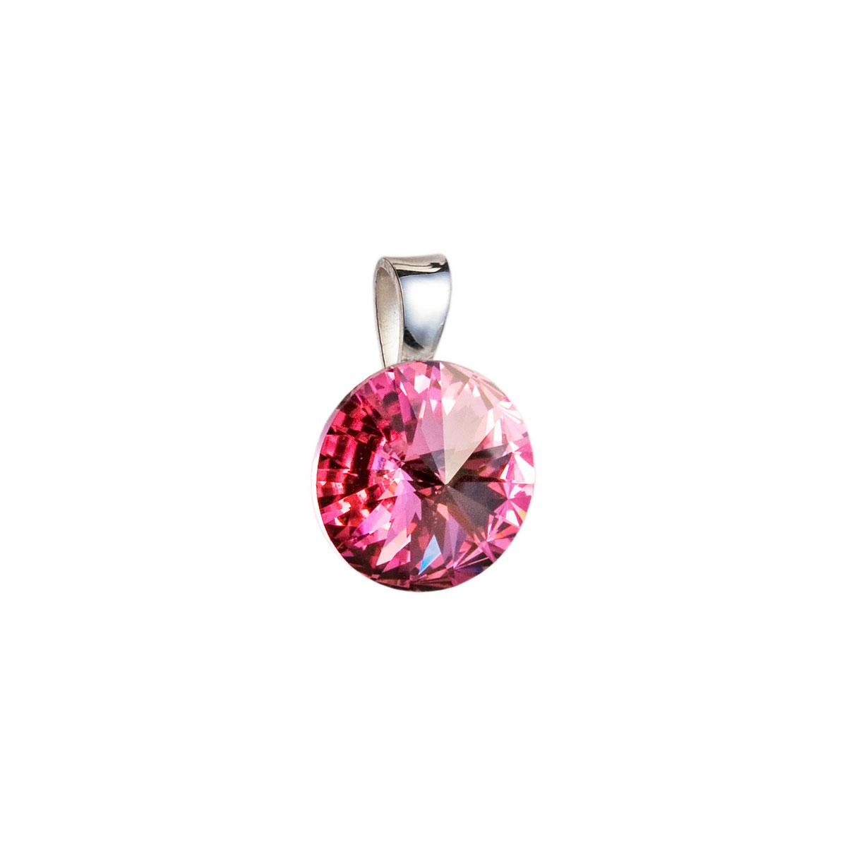 Evolution Group Stříbrný přívěsek s krystaly Swarovski růžový kulatý-rivoli 34112.3