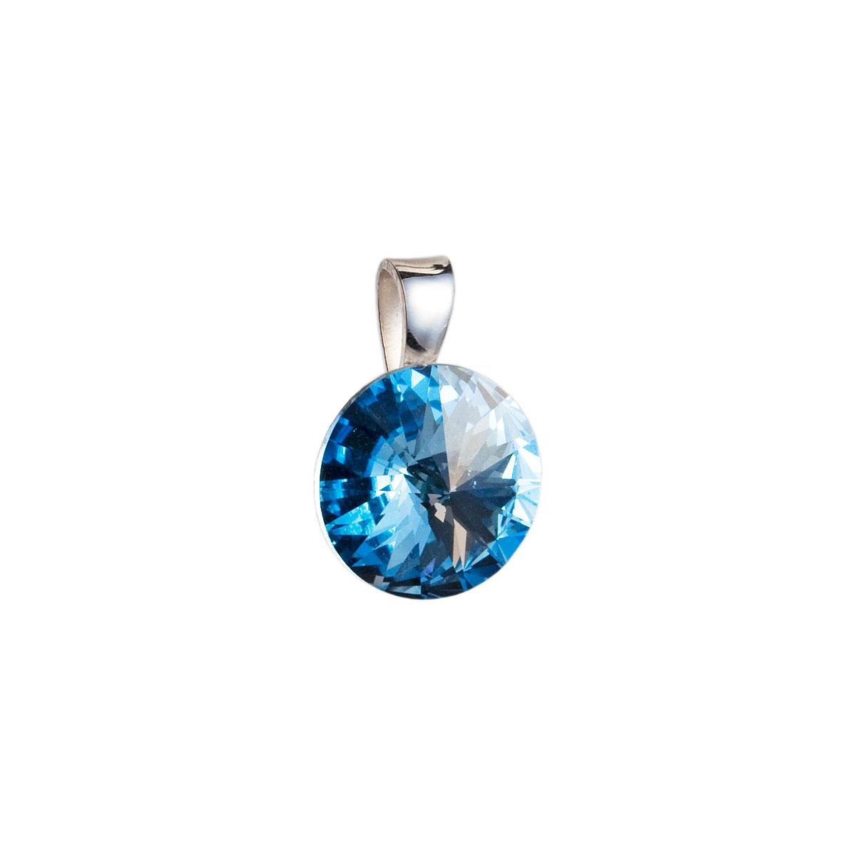 Evolution Group Stříbrný přívěsek s krystaly Swarovski modrý kulatý-rivoli 34112.3