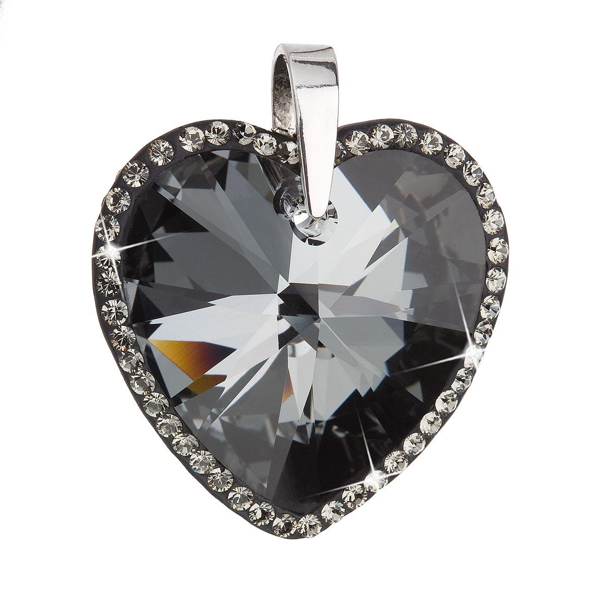 Evolution Group Stříbrný přívěsek s krystaly Swarovski černé srdce 34138.5