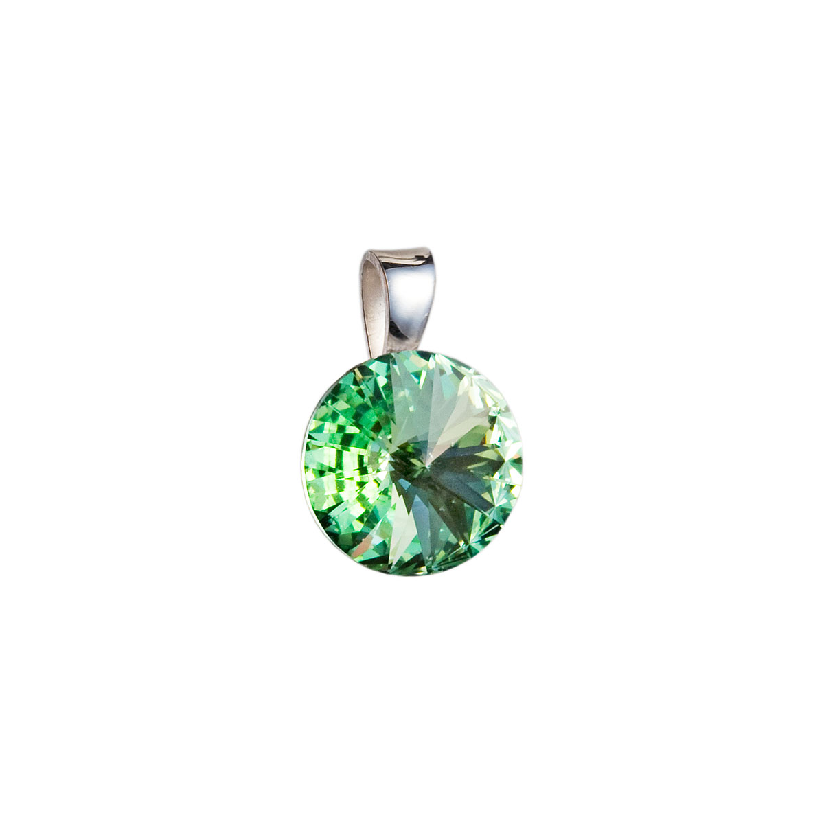 Evolution Group Stříbrný přívěsek s krystaly Swarovski zelený kulatý-rivoli 34112.3